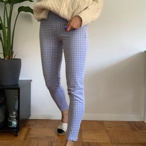 Plaid, stretchy baby blue pants